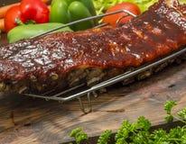 BBQ varkensvleesribben Stock Afbeelding