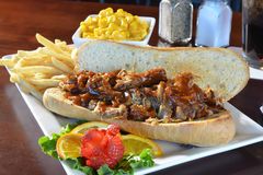 BBQ varkensvleessandwich met macaroni en kaas Stock Fotografie