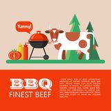 BBQ. Vector illustration. Barbecue, picnic in nature. Cute cow on the background of the forest. Finest beef. Vector illustration with space for text stock illustration