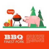 BBQ. Vector illustration. Barbecue, picnic in nature. Cute pig in the background of the forest. Finest pork. Vector illustration with space for text royalty free illustration