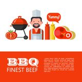BBQ. Vector illustration. BBQ. Finest beef. Vector illustration of set of symbols. Happy cook, beautiful fresh steak, barbecue, mustard and ketchup, tomato stock illustration