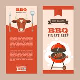BBQ. Vector illustration. BBQ. Finest beef. A juicy steak roasting on the grill. Vector illustration, flyer template with space for text. The emblem of the cow` royalty free illustration
