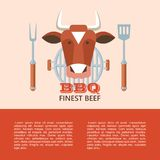 BBQ. Vector illustration. Premium quality barbecue. Vector emblem, logo. The head of a cow. Chef`s fork and shovel, grill. Finest beef stock illustration