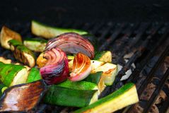 BBQ Vegetables. Fresh garden vegetables grilled over an open flame Royalty Free Stock Photo