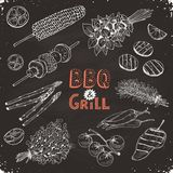 Bbq vegetables sketches vector illustration