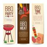 BBQ Vertical Promotion Banners Vector. Barbecue, Charcoal, Hamburgers. Isolated Illustration. BBQ Vertical Promotion Banners Vector. Barbecue, Charcoal Stock Images