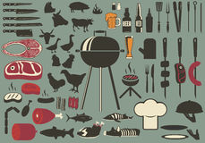 Bbq. Vintage set. Set of the  and grill collection. cooking grill objects collection vector illustration
