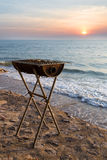 BBQ vintage stove. Vintage stove for seafood near the beach Stock Photo