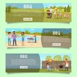 Bbq web banner template set, vector flat illustration vector illustration