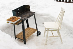 BBQ during the winter. Time stock image