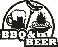 Bbq y cerveza con la parrilla y la salchicha stock de ilustración