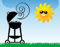 Bbq y Sun stock de ilustración