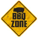 BBQ Zone Sign Barbecue Grill area vintage retro backyard pork. Ribs burgers sausage dogs charcoal royalty free stock images