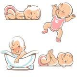 Bébés mignons dans des vêtements roses Images libres de droits