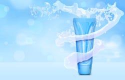 BBsahneflaschenspott oben im Wasserspritzen auf blauem bokeh Hintergrund Grundlagenrohr in der Illustration des Wassertornados 3D Stockbild