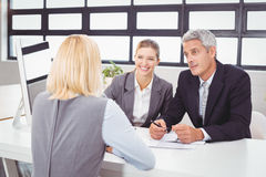 Bbusiness people discussing with client stock photo