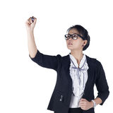 BBusiness woman with pen writing or drawing on the screen. Stock Photography