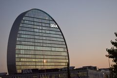 BBVA-` s hat in Las Tablas, Madrid Hauptsitz stockfoto