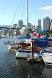 BC小河错误被停泊的风船游艇 库存图片