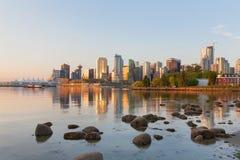 BC温哥华市地平线早晨在加拿大 免版税图库摄影