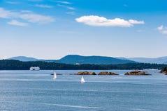 从BC轮渡甲板的看法  库存图片