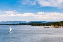 从BC轮渡甲板的看法  免版税库存图片