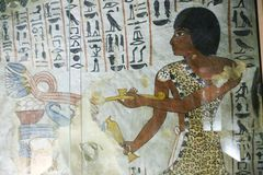BC 1500年在墙壁上的古老绘画在埃及坟墓 图库摄影