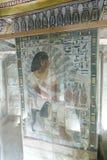 BC 1500年在墙壁上的古老绘画在埃及坟墓 免版税库存照片