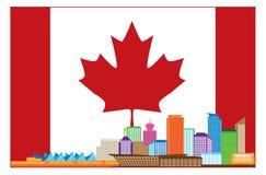 在加拿大旗子的BC温哥华加拿大五颜六色的地平线 库存照片