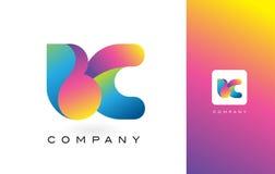 BC de Mooie Kleuren van Logo Letter With Rainbow Vibrant Kleurrijk t Royalty-vrije Stock Fotografie