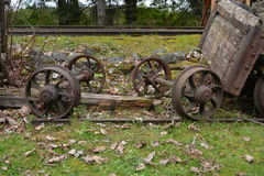 BC Forest Discovery Centre. Antique railway carriage wheels at the BC Forest Discovery Centre in Canada Stock Image