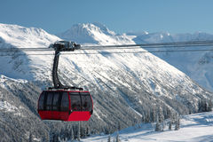 BC Gondola. One cabin of the newly constructed Peak to Peak Gondola in Whistler BC Stock Image