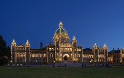 BC Legislature in Victoria at Night Royalty Free Stock Images