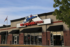 BC liquor store with blue sky background. Pitt Meadows, BC, Canada - June 16, 2015 : BC liquor store in Pitt Meadows Royalty Free Stock Photo