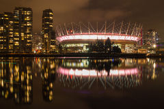 BC Place at Night. The BC Place stadium in Vancouver, BC, at night Stock Photo