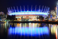 BC Place Stadium at night, Vancouver, Canada. BC Place Stadium held the opening and closing ceremonies of 20th Winter Olympic Games. It located at the north bank stock photos