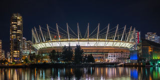 BC Place. VANCOUVER, CANADA - SEPTEMBER 19, 2013: BC Place stadium at night on September 19, 2013. BC Place is a year-round, open-air facility - the largest royalty free stock image