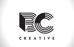 BC progettazione di Logo Letter With Black Lines Linea vettore Illus della lettera Immagini Stock