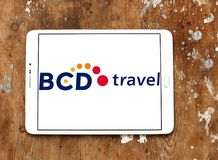 BCD Travel company logo. Logo of BCD Travel company on samsung tablet on wooden background. BCD Travel is a provider of global corporate travel management royalty free stock images