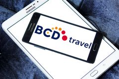 BCD Travel company logo. Logo of BCD Travel company on samsung mobile. BCD Travel is a provider of global corporate travel management stock photography