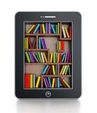 Bücherregal im Tablet-Computer Lizenzfreie Stockbilder
