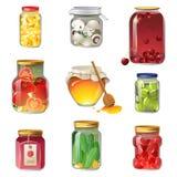 In Büchsen konservierte Obst und Gemüse Stockbild