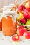 In Büchsen konservierter Apfelsaft und Äpfel im Korb, Kopienraum für Ihr tex Lizenzfreie Stockfotografie