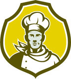 Bäcker-Chef Cook Bust Front Shield Retro Lizenzfreies Stockfoto