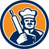 Bäcker-Chef Cook Rolling Pin Circle Retro Lizenzfreies Stockbild