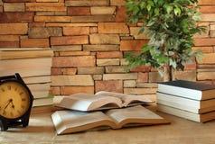 Böcker i ett studierum Fotografering för Bildbyråer