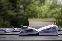 Böcker på en trädgårds- tabell Arkivfoto