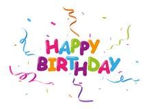 Bckground de célébration de joyeux anniversaire avec les confettis colorés illustration stock