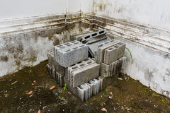 Bconcrete bricks stacked on the floor full with lichens. Concrete bricks stacked on the floor full with lichens in temple stock photo