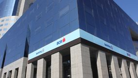 BCR bank - electronic red advertising stock video